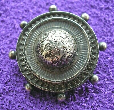Stunning large antique Victorian Sterling Silver engraved brooch domed centre