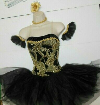 NWT SHORT BALLET COSTUME GLITTERED SILVER BLACK LADIES ATTACHED TULLE SKIRT CHAD