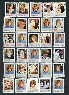 BRITISH COLONIES--Lot of 51 stamps from Princess Diana Issue