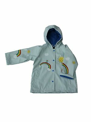 Foxfire Big Girls Light Blue Multi Color Rainbow Print Hooded Rain Coat 8-10