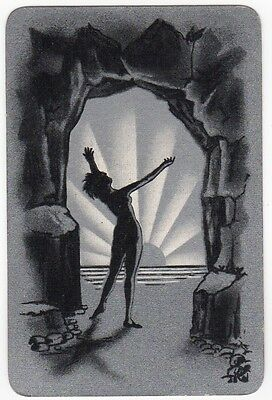 Playing Cards 1 Single Card Old Vintage Art Deco Beach Cave Girl Lady SUNBURST