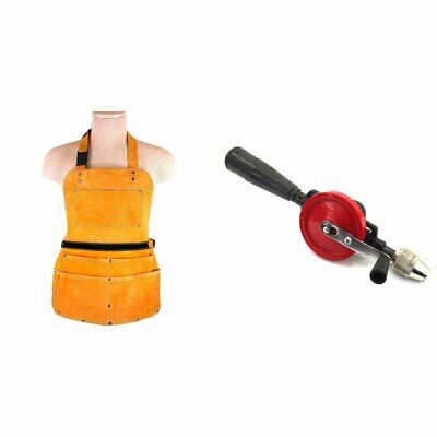 7 Pocket Leather Bib Apron Heavy Duty,Hand Drill Woodworking Kit