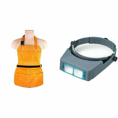 7 Pocket Leather Apron Heavy Duty,Donegan 2.75X OptiVisor Jewelers Headset Kit