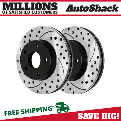 Auto Shack PR63023DSZPR Rear Drilled and Slotted Brake Rotor Pair Silver