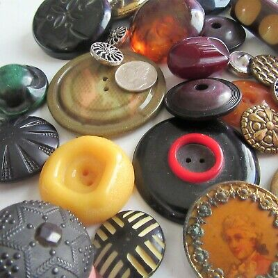 Vtg Antique Button Lot Celluloid Bakelite Whistle set Star of David Metal mirror