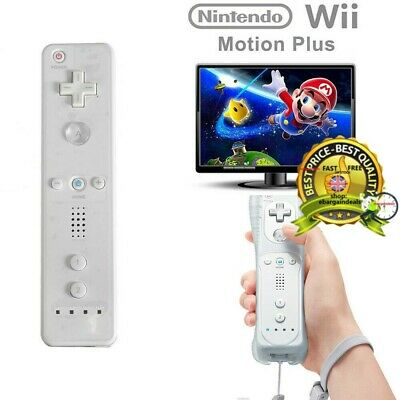 New White REMOTE CONTROLLER 2 in 1 FOR NINTENDO WII WITH BUILT IN MOTION PLUS UK