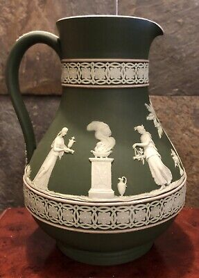"""Antique Vintage Early 1900's Wedgwood Jasperware Olive Green Pitcher 8"""" Tall"""