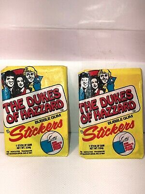 "Vintage 1981 ""DUKES Of HAZZARD"" 2nd series Don Russ Unopened Wax Pack, LOT of 2"