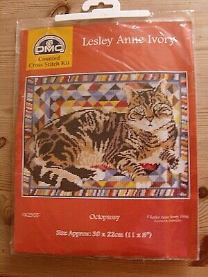 Vintage Dmc Counted Cross Stitch Kit Leslie Anne Ivory Octopussy Tabby Cat