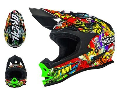 Oneal 3Series Helm Rancid multi bunt mit TWO-X Race Brille Crosshelm Motocross