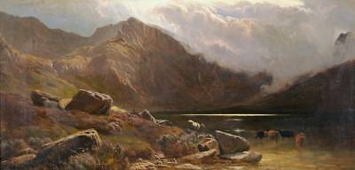 Dream-art Oil painting Sidney Richard Percy - Cattle drink water by lake canvas