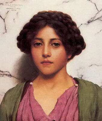Oil painting john william godward - a classical beauty female portrait canvas