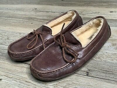 UGG Australia Brown Leather Slip On Moccasin Loafer Slippers Men's Size 9  CLEAN