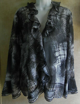 Excellent Black/White Ruffled Semi-Sheer Chico's Long Sleeve Blouse - 2 or Large