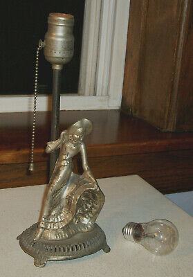 1940s Table Electric Lamp - Woman with Long Dress  Circa 1930s  White Metal