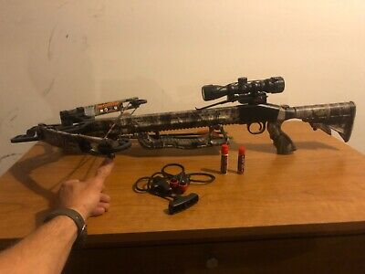 Parker Cyclone 175# Crossbow with scope caps, 2 Bolts & Cocker.