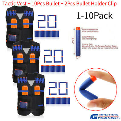 1-10Pack Tactic Vest Clip Jacket Soft Foam Bullet Holder Kit for Kids Toy Gun