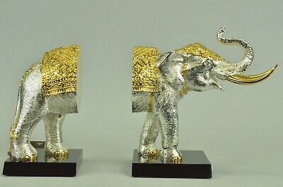 Figurine 4 lbs. 24K Gold And Silver Plated Elephant Bookends Bronze Sculptureb