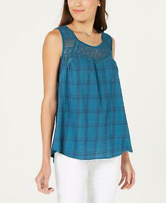 Style & Co. 1562 Size XL Womens NEW Teal Plaid Pullover Top Lace-Front $49