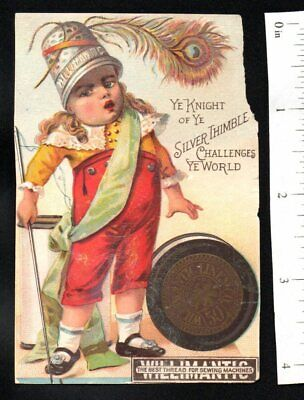 Silver Thimble Willimantic Sewing Thread 1880'S Victorian Advertising Trade Card