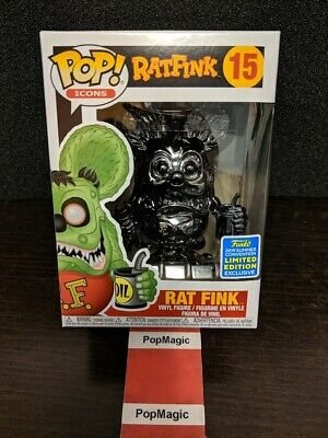 🐀In Hand🐀Funko Pop!🐀Rat Fink Black Chrome #15🐀Sdcc 2019🐀Free Protector🐀