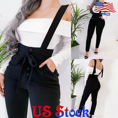 Women Slim Fit High Waist Bib Pants Dungarees Button Casual Suspenders Trousers