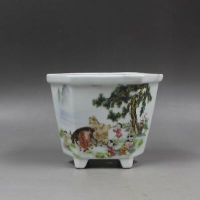 Chinese ancient antique hand make Sheep The six party Flowerpot 24