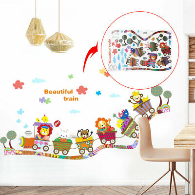 Train Pattern Wall Stickers Removable Art Decal for Bedroom Living Room