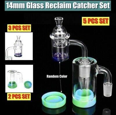 5 Piece Set Collecter Reclaimer With Beads And Cap Hookah Water Pipe Glass 14mm