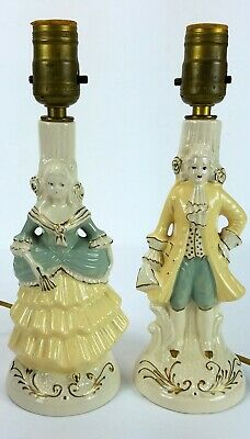 Antique Baroque Victorian French Style Porcelain Ceramic Figural Lamp Pair