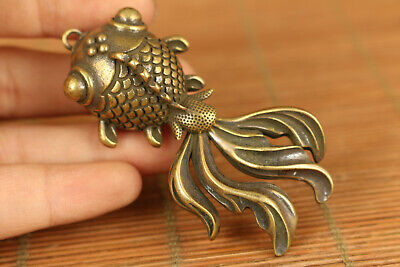 fortune old bronze hand carved gold fish statue netsuke collection pendant