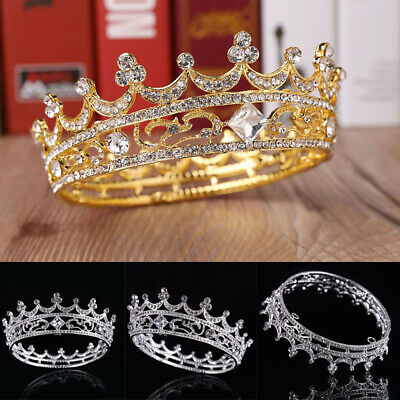 UK Full Crystal King Wedding Bride Party Pageant Prom Tiara Round Crown