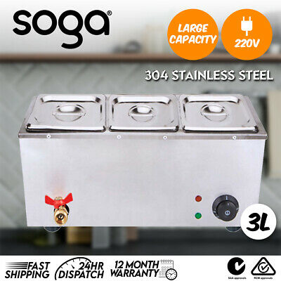 SOGA Stainless Steel Electric Bain-Maire Food Warmer with Pans and Lids 3*3L