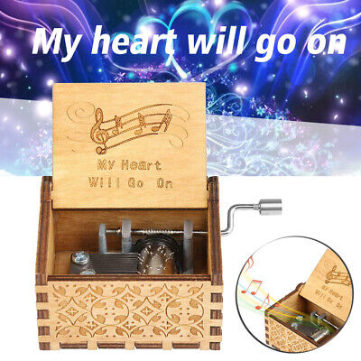 US Hand Crank Engraved Wooden Music Box Toys Gift My Heart Will Go On