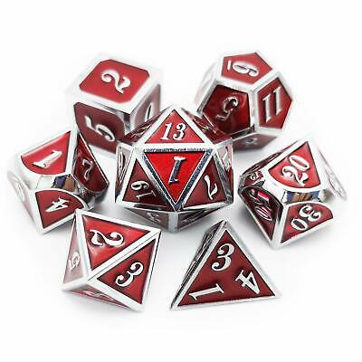 7Pcs Metal Dice Set DND RPG MTG Role Playing Game D&D Dungeons and Dragons, Red
