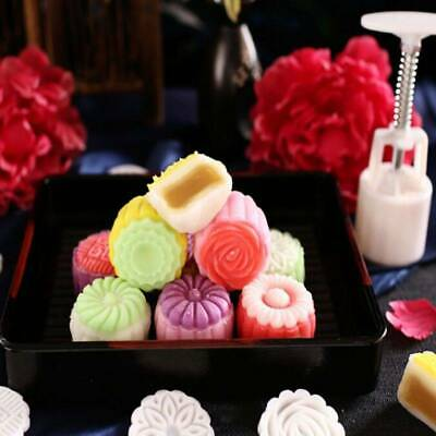 4pcs 3D Flower Stamps Moon Cake Mould Barrel Round 125g Mooncakes Hand DIY Tool