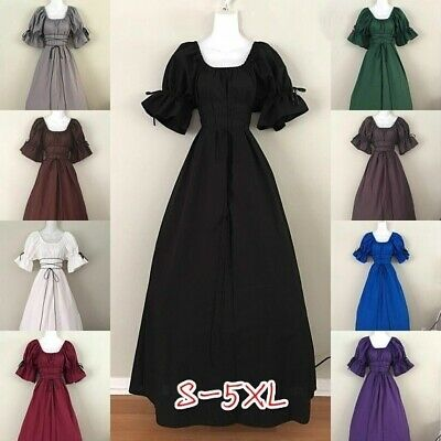 Laced Up Tubic Maxi Dress Women Vintage Gowns Dress Cosplay Costume Halloween