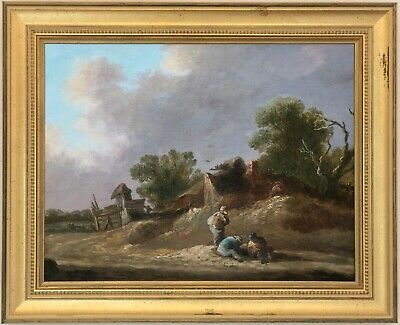 Peasants in Landscape Antique Old Master Oil Painting 18th Century Dutch School