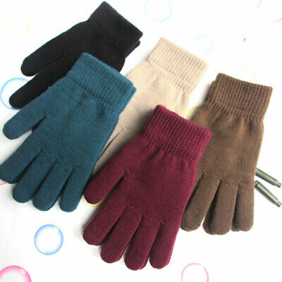 Unisex Winter Ribbed Knitted Solid Color Thicken Warm Mittens Full Finger Gloves