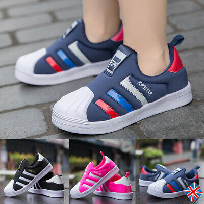 Boys Girls Sports Skate Shoes Children Kids Slip On Casual Sneakers Trainers HOT