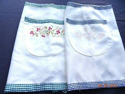 Pair of APRONS - 1/2 apron - pockets on front embroidered Green & Blue Check tie