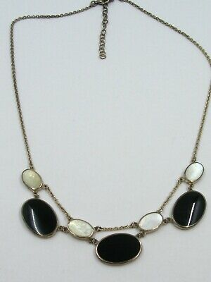 Estate Sterling Silver Black Onyx & Mother of Pearl Ladies Necklace 12.7g