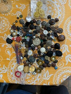 Grandma's Button Lot Vintage Antique Metal Glass Plastic Realistic MOP And More