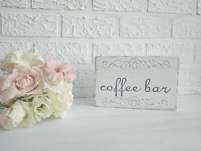 Coffee Bar Sign Distressed White Coffee Corner Decor Small  Wood Block Handmade