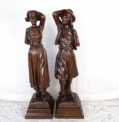 Antique French Walnut Wood Carved Figures 19th - CoupleTraditional Breton Dancer