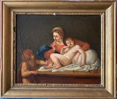 EARLY 1800s ITALIAN OLD MASTER OIL - MADONNA & CHILD & ST JOHN - AFTER CARRACCI