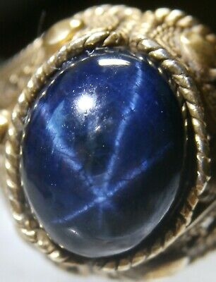 Very Fine Antique Silver Gilt Ring - Large Sapphire Cabochon with Asterism