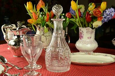 Cut Glass Port or Sherry Decanter Antique English Victorian 19th Century