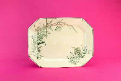 1880 Green White Gold Serving Platter Dish Aesthetic Burgess Leigh Antique Retro