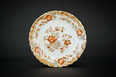 6 Porcelain Charming Floral Small Fruit PLATES Antique Aesthetic Movement 1890